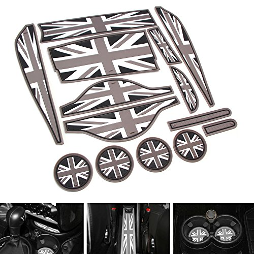iJDMTOY 14pc Soft Silicone Black/Grey Union Jack Style Cup Holder Coasters, Side Door Compartment, Glove Box, Center Console Mats For 2011-2016 MINI Cooper R60 Countryman