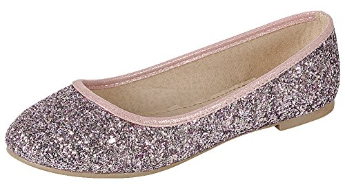 Cambridge Select Women's Closed Round Toe Glitter Sequin Slip-On Ballet Flat,9 B(M) US,Pink