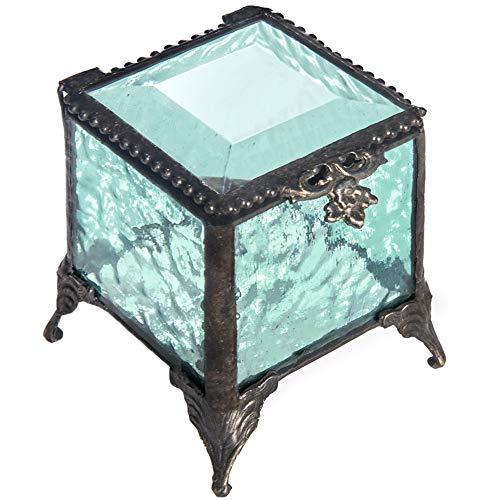 J Devlin Box 153 Series Stained Glass Trinket Keepsake Jewelry Display Crystal Ring Box (Aquamarine Blue)