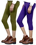 Indistar Big Girl's Cotton Capri Combo-2 Large Green::Purple