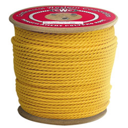 CWC 3-Strand Twisted Polypropylene Rope, Yellow (1/4