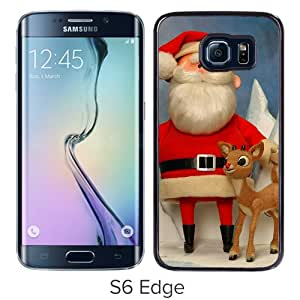 Unique Samsung Galaxy S6 Edge Case ,Rudolph The Red Nosed Reindeer christmas Santa Claus Black Samsung Galaxy S6 Edge Beautiful And Fashionable Custom Designed
