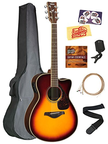 Yamaha FSX830C Small Body Acoustic-Electric Guitar Bundle with Gig Bag, Tuner, Strap, Instructional DVD, Strings, Picks, and Polishing Cloth – Brown Sunburst