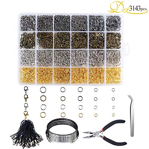 Dayree 3143Pcs Jewelry Findings Making Starter Kit with Open Jump Rings, Lasso Strap, Lobster Buckle, 5cm Wax Necklace, Brass Jumper Opener, Jewelry Pliers and Curved dice for Jewelry Making All in A