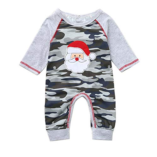 YOUNGER TREE Infant Baby Boys Christmas Outfit Cartoon Santa Claus Embroidery & Camouflage Printed Jumpsuit with Hat 2Pcs (Camouflage, 6-12 Months) -
