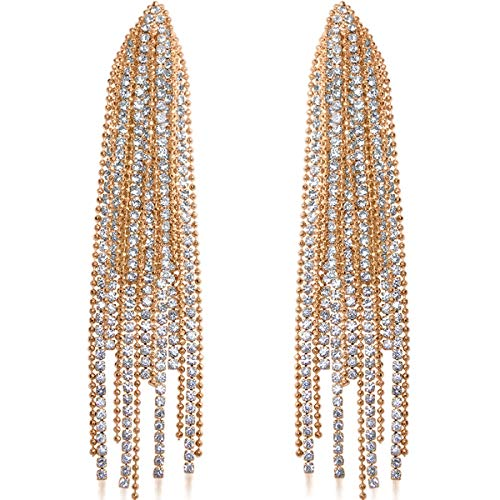 - Humble Chic Simulated Diamond Earrings - Oversized Darling Waterfall Tassel CZ Statement Chandelier Studs, Gold-Tone Cascade, Hypoallergenic