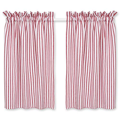 Cackleberry Home Red and White Ticking Stripe Cafe Curtains 28 Inches W x 36 Inches L Woven Cotton, Set of 2 (Red Window Stripe Curtain)