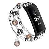 V-MORO Band Compatible with Fitbit Charge 3/3 SE Bands Women Fashion Handmade Jewelry Bracelet Elastic Stretchy Charge3 Strap Faux Pearl Beads Wristband for Fitbit Charge 3 Smartwatch Black 5.3'-5.7'