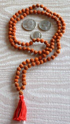 UDRAKSHA RUDRAKSH 6 MM 108 BEADS PRAYER JAPA KARMA MALA NECKLACE-TOP GRADE 5 FACE (5 MUKHI) HINDU TIBETAN BUDDHIST PRAYER KARMA BEADS SUBHA ROSARY MALA FOR NIRVANA, BHAKTI, FOR REMOVING INNER DOSHAS,