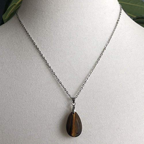 (Simple and Elegant Tiger's Eye Teardrop Pendant Necklace on 18