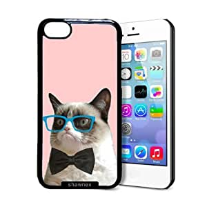 Shawnex Hipster Grumpy Cat Geek Glass Bowtie iPhone 5C Case - Thin Shell Plastic Protective Case iPhone 5C Case