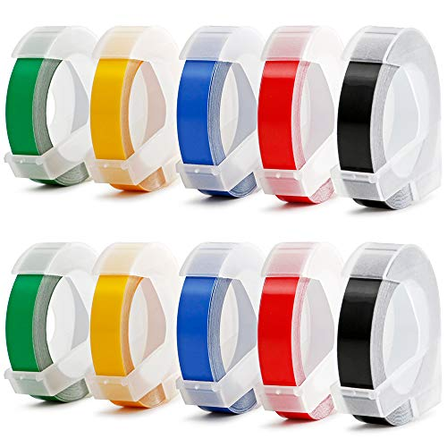 Colored Embossing Tape Replacement for Dymo Embossing Xpress Label Maker, 3D Plastic Labels Self-Adhesive, 3/8-inch x 9.8-Feet (Each Roll), 7-Roll Pack, [Non-OEM] Coloured Self Adhesive Labels
