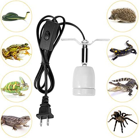 300W Reptile Lamp Socket, 360° Rating Heat Light Holder Kit, Habitat Basking Lamp Base Stand with Switch, E27 Socket for Lizard Turtle Snake Aquarium (no Bulb Included)