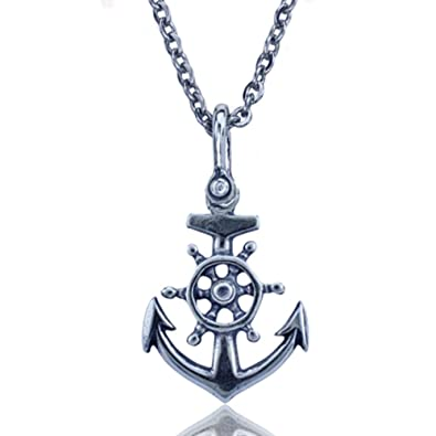 024c7ef8b2f3 Amazon.com  KeyLimeBay Anchor and Ships Wheel Nautical Pendant Crafted in  Sterling Silver on an 18 Inch Link Necklace Chain  Jewelry