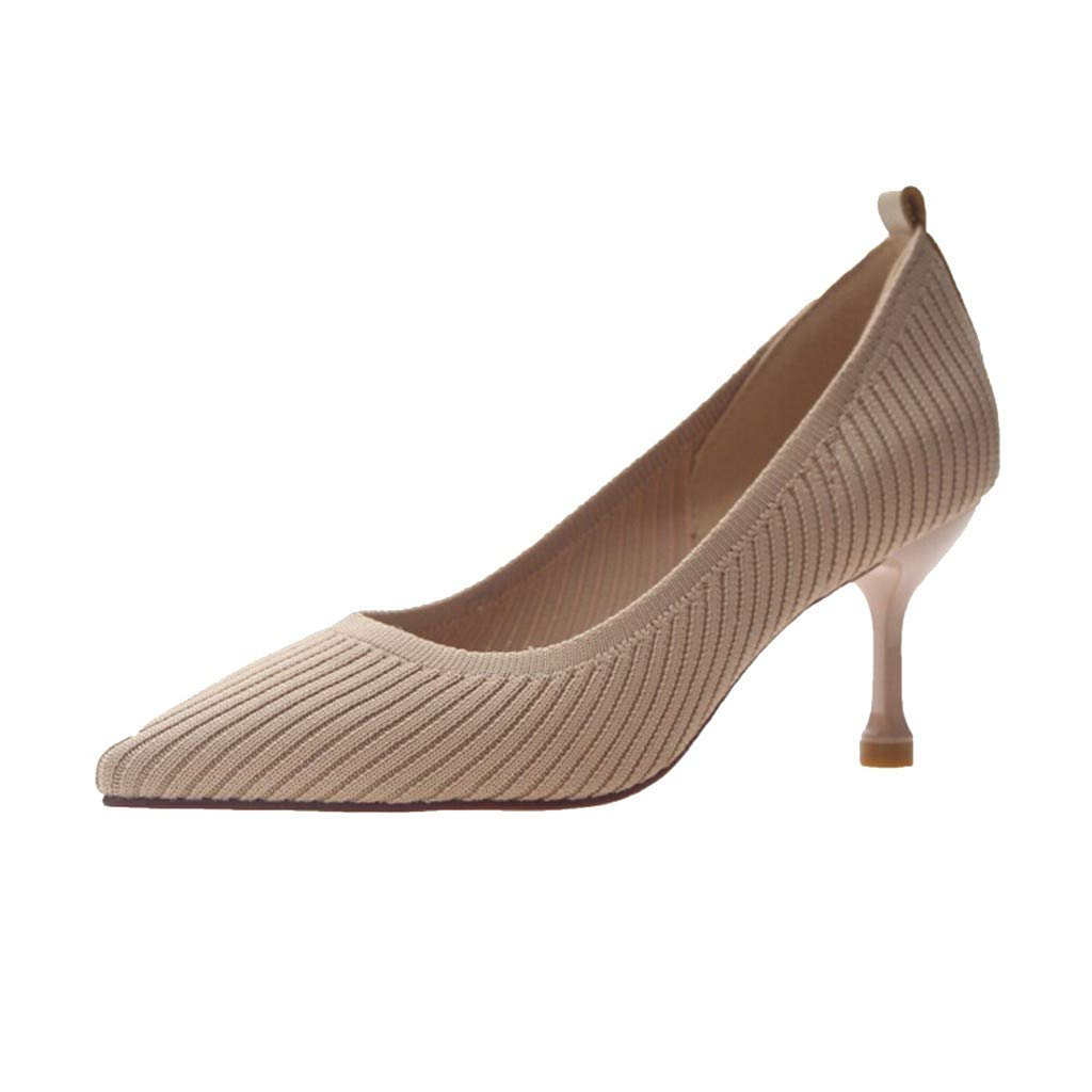 ZOMUSAR New! 2019 Women's Summer Casual Fashion Pointed Stretch Breathable Single Shoes High Heels Khaki by ZOMUSAR