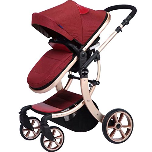 AIMILE Newborn Baby Pram Infant Foldable Anti-shock High View Jogger Stroller Multi-Positon Reclining Seat Stroller Pushchair (Red)