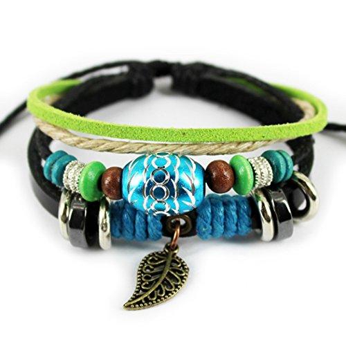 MORE FUN Fashion Oval Beads Adjustable Hemp Woven Braided Wrap Bracelet with Leaf Metal Pendant