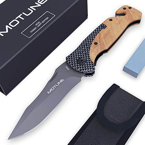 MOTUNE® Zweihand Klappmesser 3-in-1 KP20 – Scharfes Taschenmesser mit Holzgriff – Zweihandmesser mit Titaniumklinge aus…