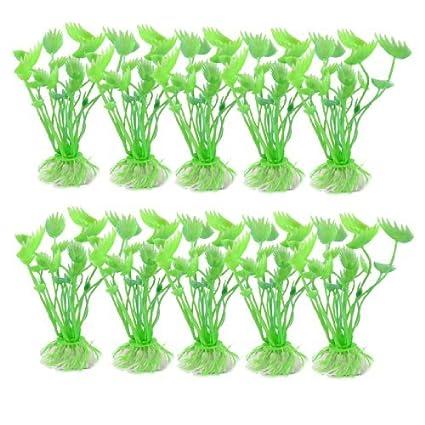 eDealMax 10 piezas de plástico acuario Plantas acuáticas, DE 3,5 pulgadas, Verdes