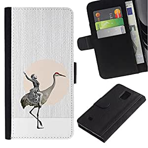 ZCell / Samsung Galaxy Note 4 IV / Abstract Absurd Horseman Bird / Caso Shell Armor Funda Case Cover Wallet / Abstracta absurda Caballero P&aacut