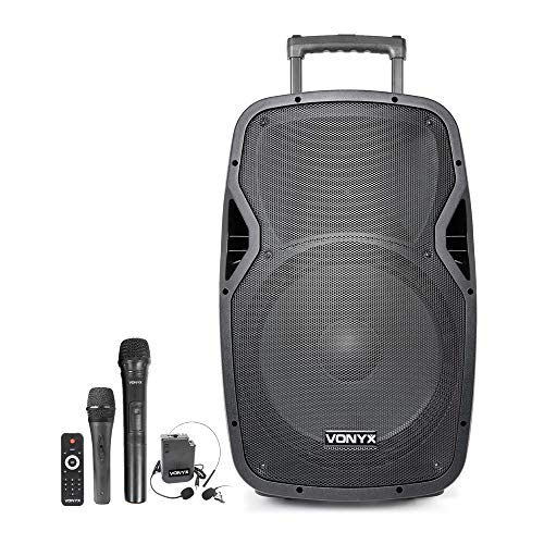 VONYX AP1500PA 15 Inch Active Portable PA Speaker 800W Battery Powered System with Bluetooth, UHF Wireless Microphones…