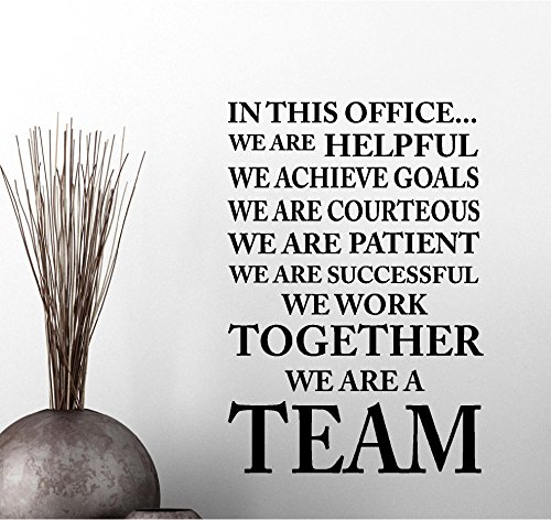Simple Expressions Arts in This Office we Achieve Goals we Work we are a Team Classroom Sport Football Cute Inspirational Family Love Vinyl Quote Saying Wall Art Lettering Sign Room Decor ()