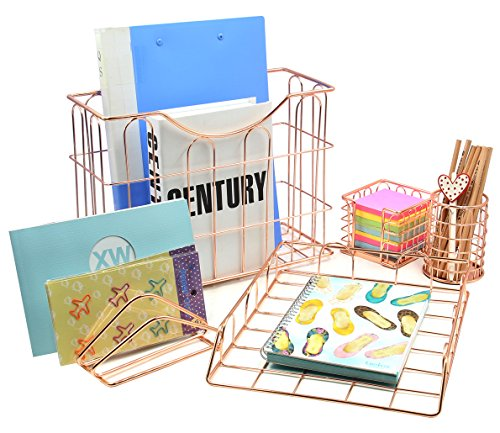 Superbpag Wire Metal 5 in 1 Desk Organizer Set – Letter Sorter, Pencil Holder, Stick Note Holder, Hanging File Organizer and Letter Tray