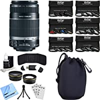 Canon EF-S 55-250mm f/4-5.6 IS II (Stabilized) Telephoto Lens Photography Bundle includes Lens, Pouch, 58mm Ultimate Filter Kit, Wide Angle Lens, Telephoto Lens, Beach Camera Cloth and More