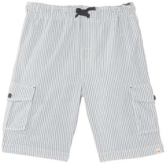Hatley Little Boys' Woven Cargo Shorts Blue Ticking, White, 8