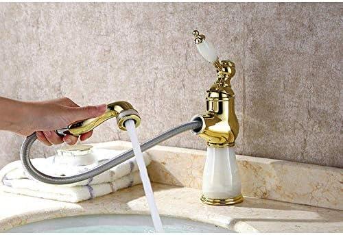 Zxyan 蛇口 立体水栓 バスルームのシンクは、スロット付き浴室の洗面台のシンクホットコールドタップミキサー流域の真鍮シンクミキサータップ非震とう浴室蛇口ヨーロピアンスタイルのプルアウト温水と冷水の蛇口をタップ トイレ/キッチン用