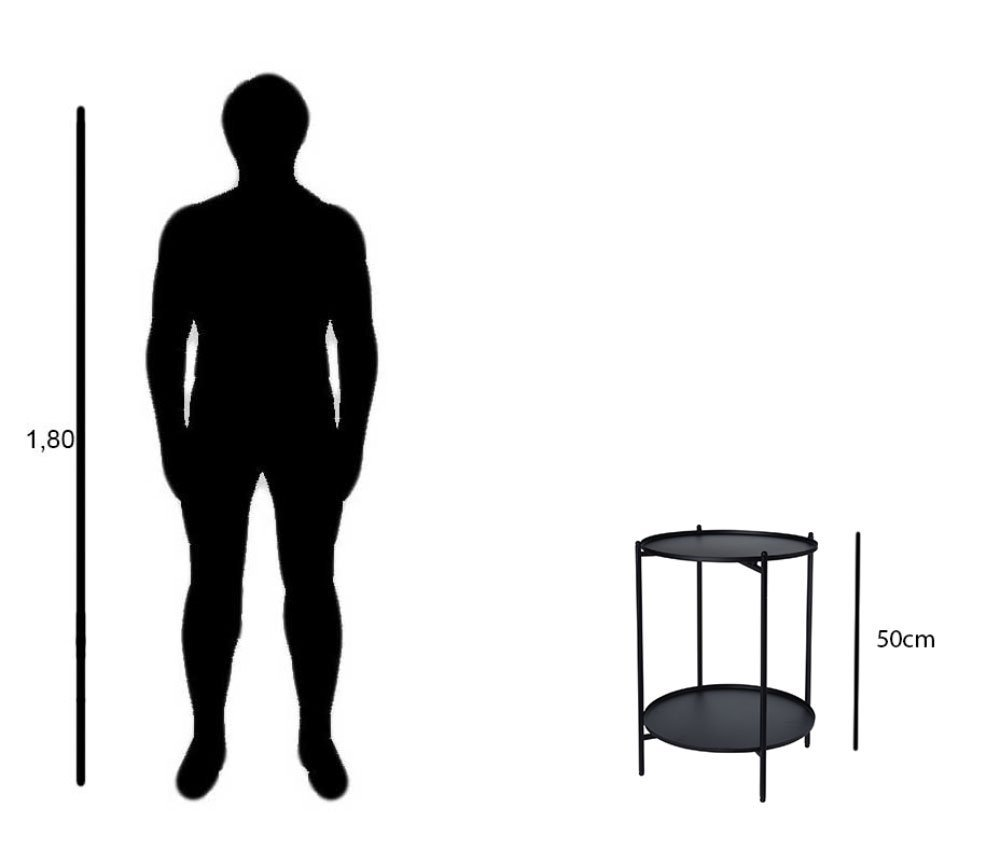 made2trade Table dappoint en m/étal pour Salon ou Chambre /à Coucher Noir