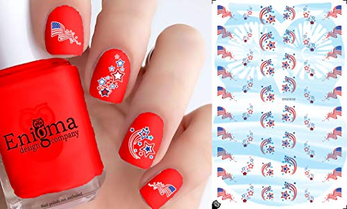 4th of July Flags & Stars (Clear Vinyl with White, Peel & Stick Nail Decals)