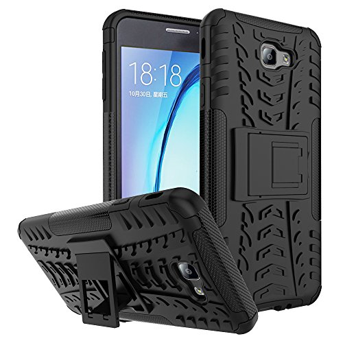 Galaxy J7 Prime Shockproof Case, Galaxy On Nxt Hybrid Case, Dual Layer Protection Shockproof Hybrid Rugged Case Hard Shell Cover with Kickstand for Samsung Galaxy J7 Prime, Galaxy On Nxt (Black)