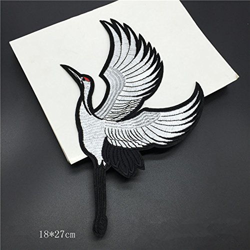 one-pair-set-of-2-of-red-head-same-crane-sewn-on-or-iron-on-patches-embroidered-garment-diy-accessor