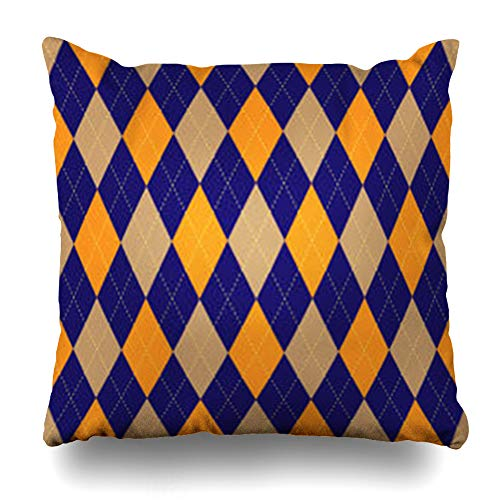 iDecorDesign Throw Pillow Covers Polo Border Argyle Pattern Palette Navy Blue Orange Beige Yellow Check Checked Checkered Chequer Home Decor Pillow Case Square Size 18 x 18 Inches Pillowcase - Jenny Golf Socks