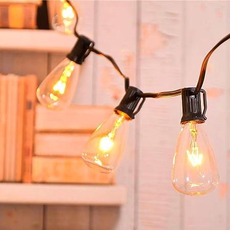 MYHH-LITES - Cadena de luces de patio para exteriores de 20 pies con 21 bombillas Edison