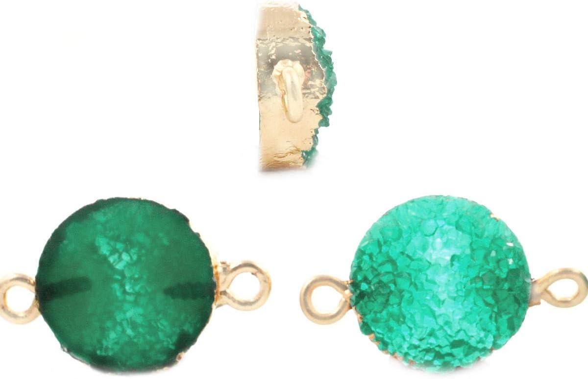 2pcs Verde Esmeralda Druzy piedra PRECIOSA de Imitación de Piedra de la Resina de Conectores bañados en Oro Pulsera Colgante de Metal Resultados de 13,5 mm x 23 mm