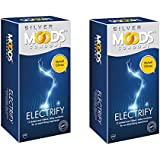 moods silver electrify climax delay dotted and ribbed condoms- 2 pack of 12's(discreet shipping)