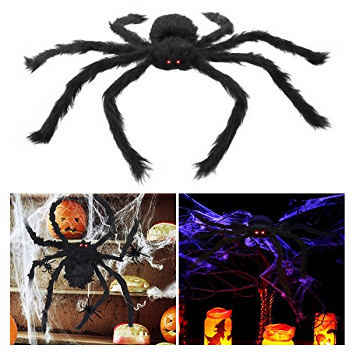 Unomor Halloween Spider 29in/75cm with LED Eyes Scary Spider Toys for Kids Outdoor Halloween Decorations