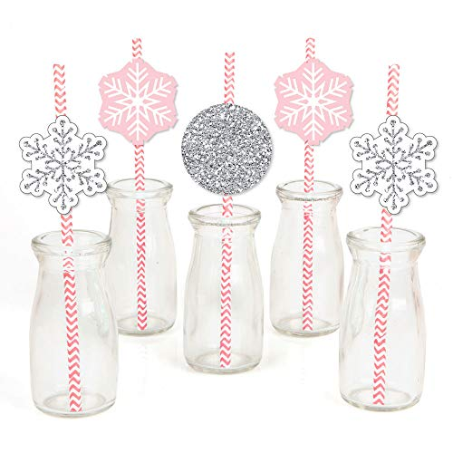 Pink Winter Wonderland - Paper Straw Decor - Holiday Snowflake Birthday Party or Baby Shower Striped Decorative Straws - Set of 24 -