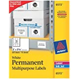 Avery White Permanent ID Labels for Laser and Inkjet Printers, 2 x 5/8 Inch, Pack of 225 (6572)