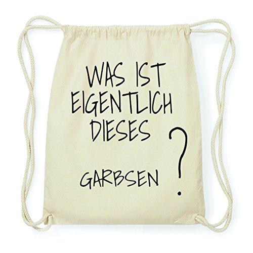 JOllify GARBSEN Hipster Turnbeutel Tasche Rucksack aus Baumwolle - Farbe: natur Design: Was ist eigentlich