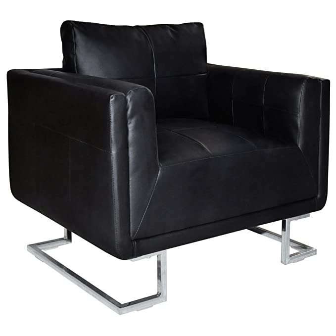 Amazon.com: Black Luxury Cube Armchair with Chrome Feet ...