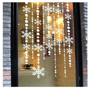 Amazon.com: White Snowflake Curtain Christmas Sticker ...