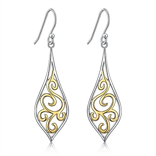 18K Gold Plated Sterling Silver Filigree Leaf Design Dangle Drop Earrings For Sensitive Ears By Renaissance Jewelry