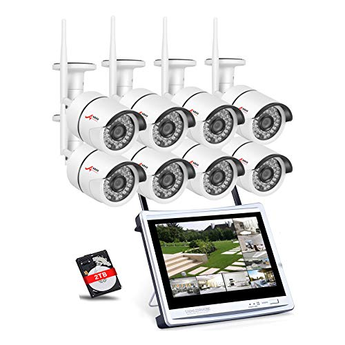 [All-in-1] ANRAN 8CH Home Surveillance System Wireless 12″ LCD NVR Kit P2P 960P Security CCTV Bullet IP Network Camera Waterproof Video Camera System 2TB HDD Pre-Install Plug Play Camera Auto Pair