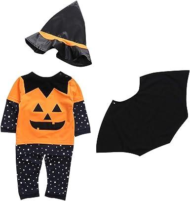 BBSMLIN 1-5 años Niño Disfraz Halloween Calabaza Camiseta + ...