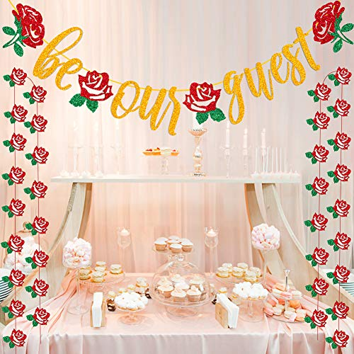 Be Our Guest Banner Beauty And The Beast Party Supplies Bachelorette Engagement Bridal Shower Baby Shower Birthday Party Favor Supplies Decorations -