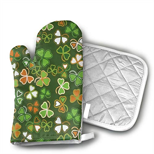 MEILVWEN Shamrock Irish St Patrick's Day Luck Oven Mitt and Pot Holder Set,Heat Resistant for Cooking and Baking Kitchen Gift ()
