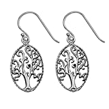 Sterling Silver Tree of Life Oxidized Oval Dangle Hook Earrings